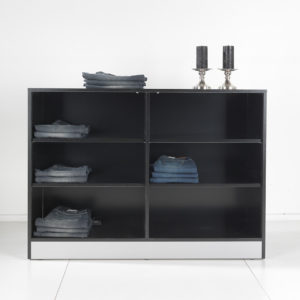 Salgsreol - opbevaringsmøbel som kan leveres i alle farver. Butiksinventar