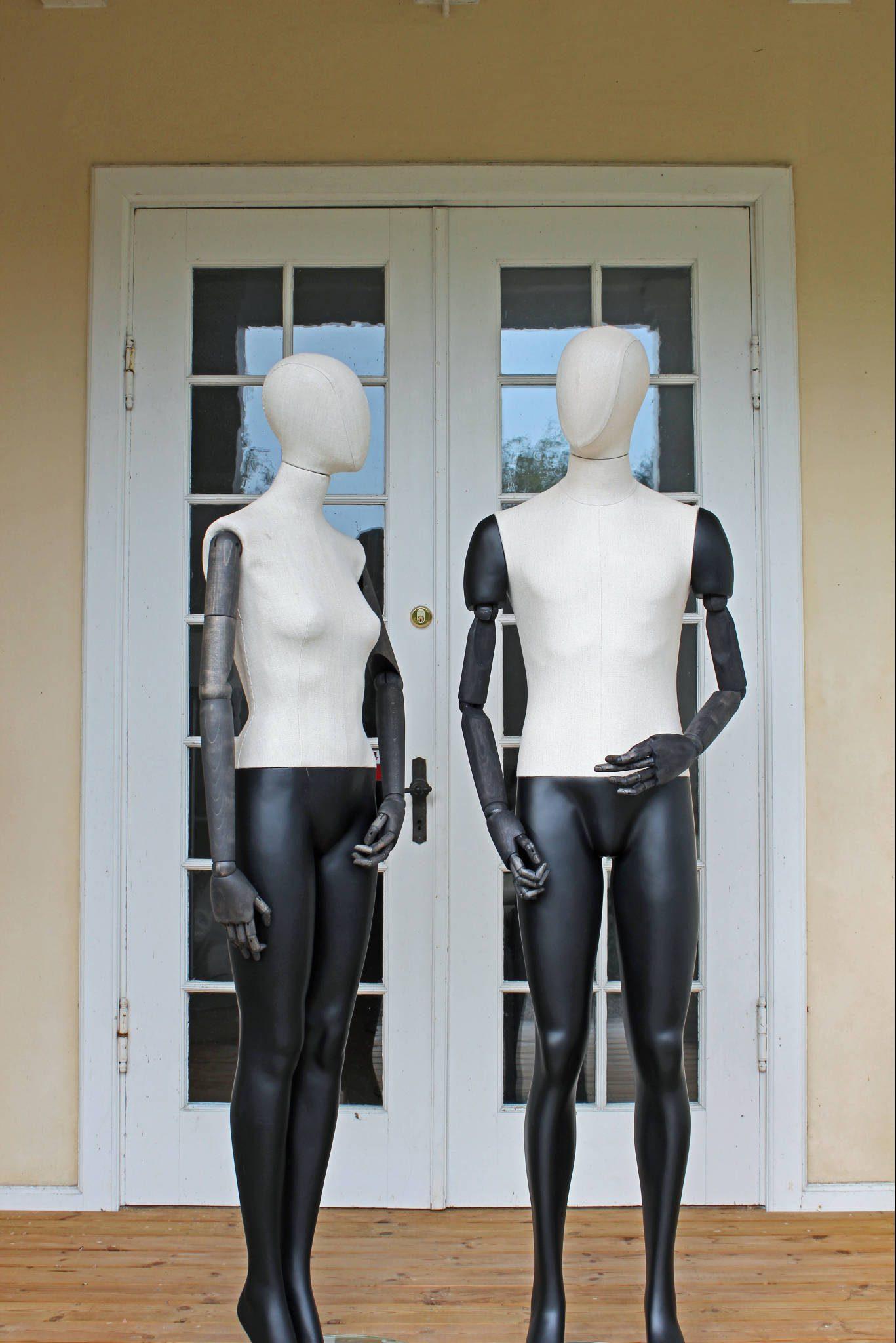 vintage mannequin dame og herre model med sortbejdset arme
