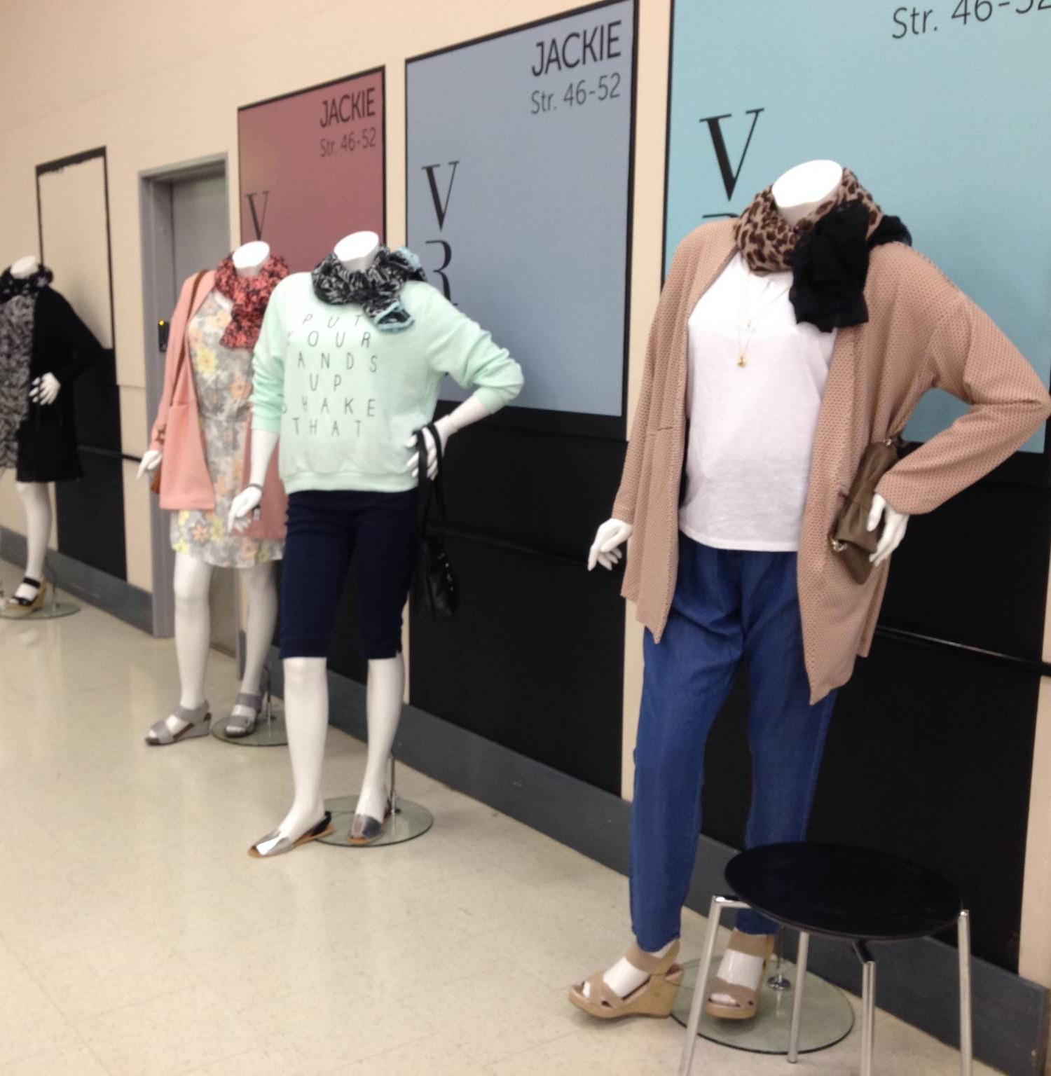 plus size dame mannequiner, Daniella, findes i 2 modeller i standard farve Ivory. Inkl. glas plade samt foot og leg spike